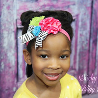 Girls Shabby and Satin Flower Zebra Bow Headband