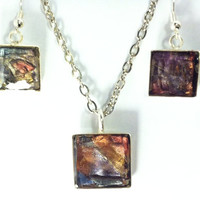 Dichroic pendant necklace and earrings, diachroic jewelry set, multi stained glass effect, polymer clay pendant necklace, resin overlay.