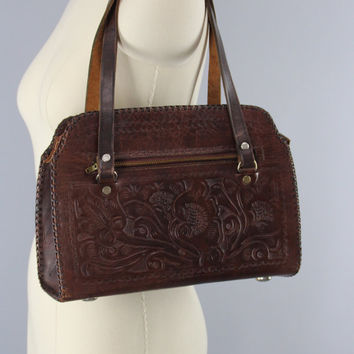 1960s Vintage Tooled Leather Shoulder Bag / 60s Handbag / Vintage Brown Leather Purse