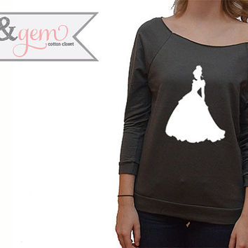 Disney's Cinderella Silhouette Off the Shoulder Sweatshirt // Disney Cinderella Sweatshirt // Disney Lover Shirt // Cinderella Shirt