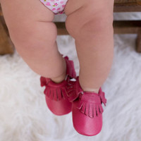 Dark Pink Leather Fringe Baby Moccasins