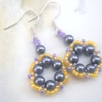 Beadwoven Blue Earrings Pearl Earrings Blue and Yellow