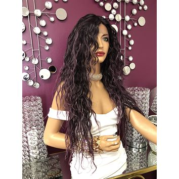 "Purple Long Wavy Hair Swiss Lace Front Wig 24"" 818"