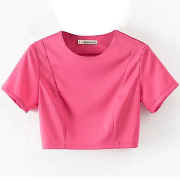 Pink Short Sleeve Crop Top with Cut Out Back