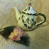 Sage Green and Rose Holly Teapot Hand Painted Ceramic Vintage Tea Brewer Steeper Christmas Dining Kitchen Decor Pink Light Green Handmade