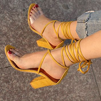 Summer Popular Women Cool High-Heel Strapping Large-Size Sandals High-Heeled Shoes Yellow