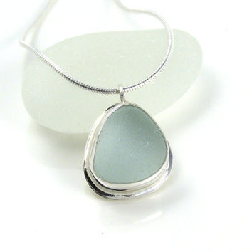 Morning Dew Sea Glass Pendant Necklace, Bezel Set Necklace, Seaglass Pendant, Beach Glass Necklace, Seaglass Jewellery, MAI