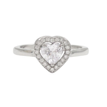 White CZ Center, Rhodium Plated Sterling Silver CZ Heart Ring