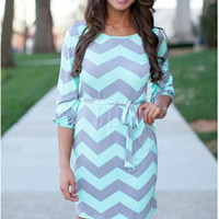 Wave Print Drawstring Sleeve Dress