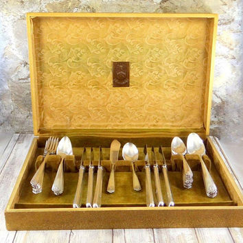 Art Deco Silver Plate Flatware Set, Service for Six, Heirloom Pattern by Wm A Rogers, Original Wood Case
