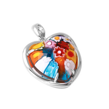 "Sterling Silver Multicolor Glass Murano Millefiori Glass Pendant Heart  (Free 18"" Chain)"
