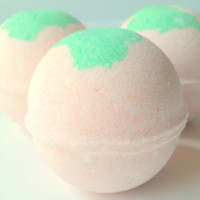 Strawberry Bath Bomb by ZEN-ful, Bath Bombs, Bath Fizzy, Gift Ideas, Gifts For Her, Bath Bombs 5.5 oz.