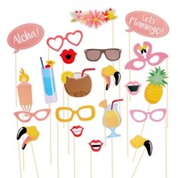 PuTwo 21pcs Hawaii Themed Summer Party Photo Booth Props Kit DIY Luau Party Supplies for Holiday Wedding Beach Party