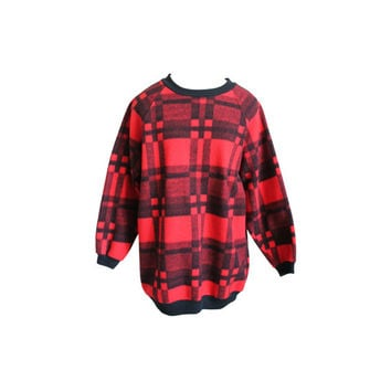 90's Plaid Fleece Jumper Grunge Slouchy Crew Neck Black Red Tunic Sweater Sweatshirt 1990's Hip Hop Hipster Urban Streetwear Hipster Large