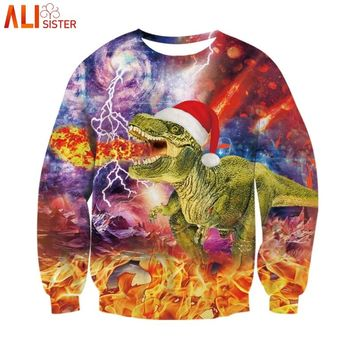 Alisister Merry Christmas Sweatshirt Dinosaur 3d Print Animal Funny Hoodies Men Women Xmas Sweatshirts Party Pullover Tops