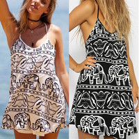 Elephant Totem Print Spaghetti Strap Mini Dress