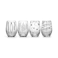Mikasa Cheers Platinum Metallic Stemless Wine Glasses, Set of 4 - Plat