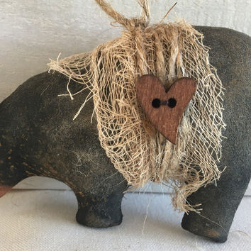 Primitive Black Bear Christmas Ornament