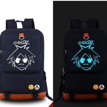 anime Gorillaz Backpack Fashion Game Canvas Student Luminous Schoolbag Unisex Travel Bags packsack