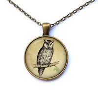 Bird necklace Animal pendant Owl jewelry CWAO185-1