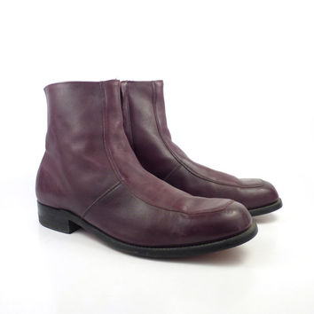 Leather Ankle Boots 1970s Burgundy Oxblood  Euro Beatle Zip men's size 13 EE