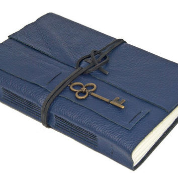 Navy Blue Leather Journal with Key Charm Bookmark