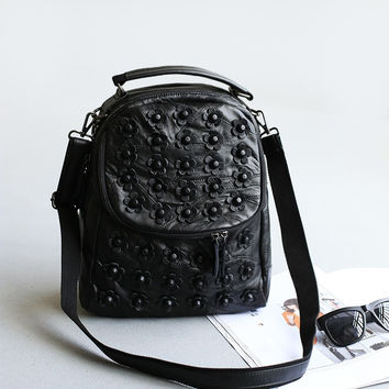 Hot Deal Back To School Comfort Casual On Sale Stylish College Leather Rivet Punk Mosaic Backpack [4915788484]
