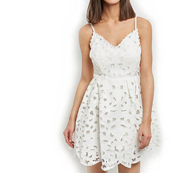 Cream Laser Cut Out Strappy Skater Dress