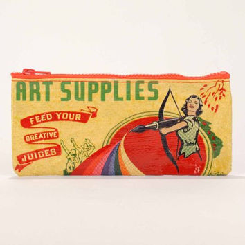 Art Supplies Pencil Case in Primary Yellow and Red