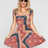 Socialite Boho Print Cross Back Dress Multi  In Sizes