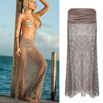 Fashion Sexy Women's Half Hollow Out Long Full Skirt Beachwear F_F SV015117 (Color: Coffee)