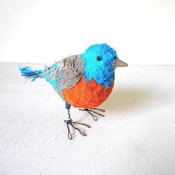 Bird Sculpture Handmade Blue Orange Gray fabric figurine unique home decor gift idea Ready to Ship