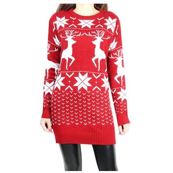 Christmas Sweater Dress Women Autumn Winter Casual Deer Geometric Print Knitted Long Sleeve Sweater Warm Pullovers Mujer HD0768