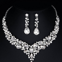 Youfir Bridal Austrian Crystal Necklace and Earrings Jewelry Set Gifts fit box