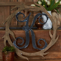"19.5"" Wooden Antler - Wreath - Front Door Hanger - Window Hanger - Wall Hanger - Decor"