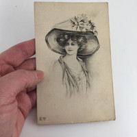 French Postcard, Victorian, Lady, Large Hat, Empire Art Gravure, No 152, Unused, 1911 Original Collectable Card, Antique