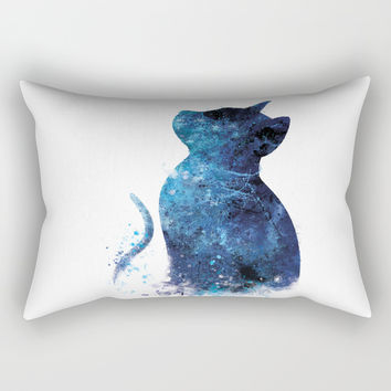 Blue Cat Rectangular Pillow by monnprint