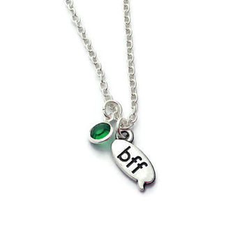 BFF Necklace, Birthstone Jewelry, Gifts for Best Friend, Sister Jewellery, Friendship Present, Simple Necklace, Quirky Xmas Gift, Minimalist