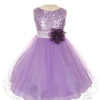 Sequin Bodice Tulle Special Occasion Holiday Flower Girl Dress - Lavender 9-10