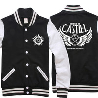 Casual Men/Women Clothes Supernatural Hoodie CASTIEL Baseball Slim Jacket Coat