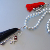 Pearl necklace with tassel, crystals, rhinestones /Pearls Necklace/Gift fashion Handicraft necklace