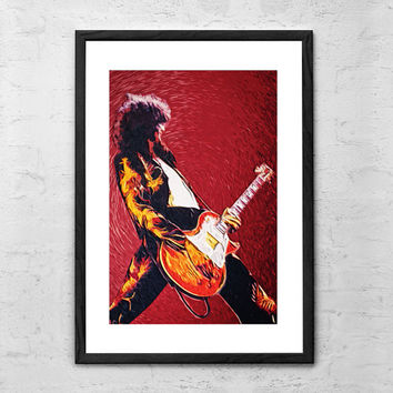 Jimmy Page (Led Zeppelin), Digital Painting - Wall art Poster - Fine Art Print for Interior Decoration