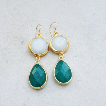 long  DUAL round  white and green drop jade stones gemstone earrings textured matte golden frame gemstone earrings Israel