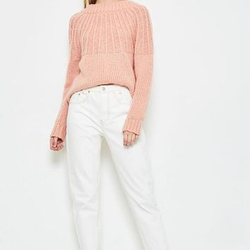 Short-Lived Ankle Jeans in Off White