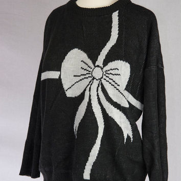 Vintage 80s Bow Sweater Black & White Slouchy