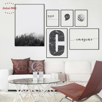 900D Nordic Forest Posters And Prints Wall Pictures For Living Room Canvas Painting Wall Art Decoration Landscape YM006