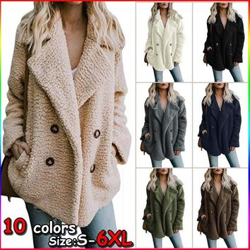 10 Colors Size:S-6XL Women Wool Coat Winter Warm Coat Women Casual Fluffy Hooded Cotton-padded Jacket Wool Outwear Coat