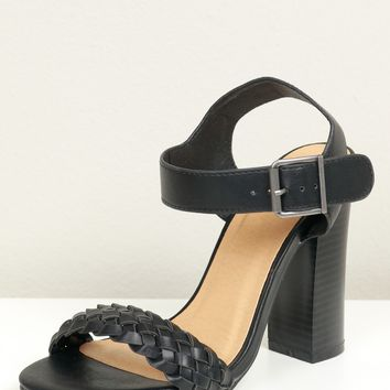 Braided Two Strap Heel Black
