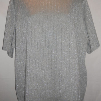 Vintage 80s Sag Harbor Grey and Silver Short Sleeve Sweater Blouse Shirt