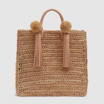 Loeffler Randall / Straw Travel Tote in Natural Raffia